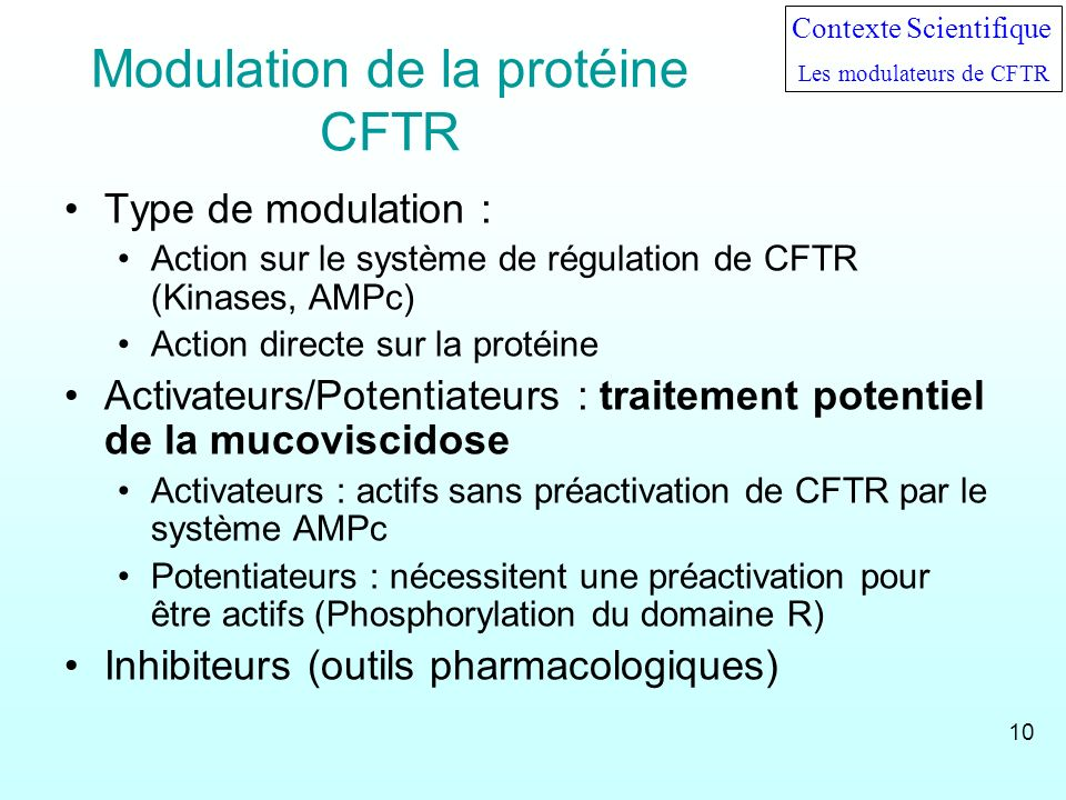 Modulation de la protéine CFTR