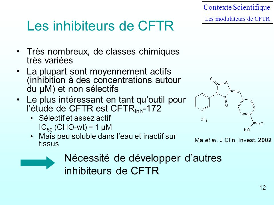 Les inhibiteurs de CFTR