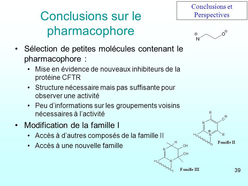 Conclusions sur le pharmacophore