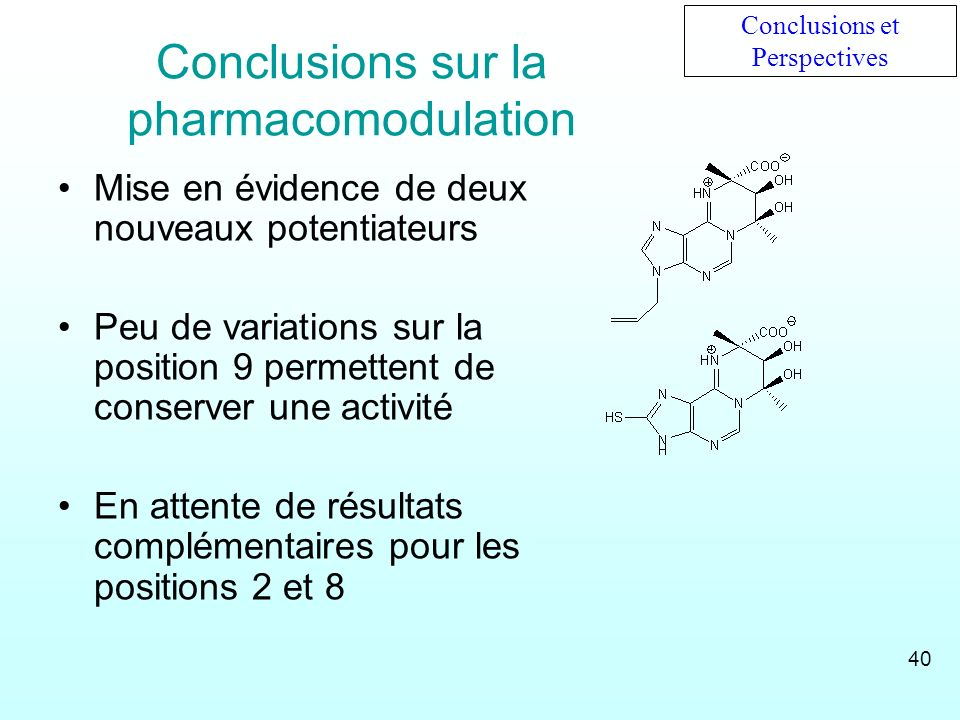 Conclusions sur la pharmacomodulation