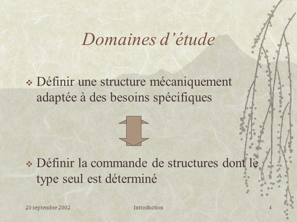 Domaines d'étude Définir une structure mécaniquement adaptée à des besoins spécifiques. La problématique de l'étude intervient sur deux aspects :