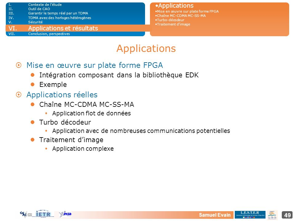 Applications Mise en œuvre sur plate forme FPGA Applications réelles