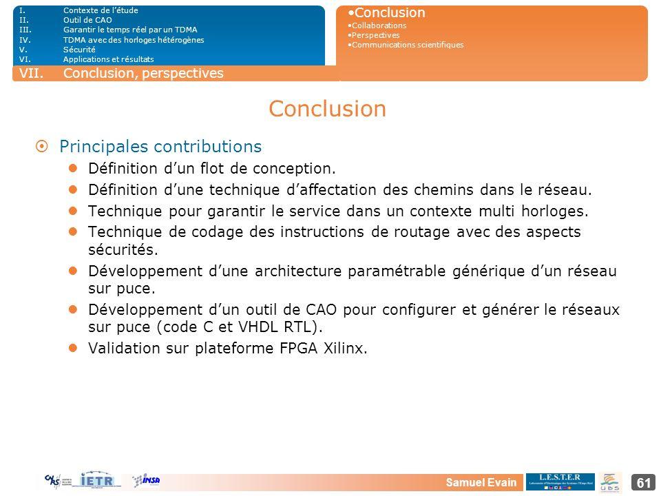 Conclusion Principales contributions