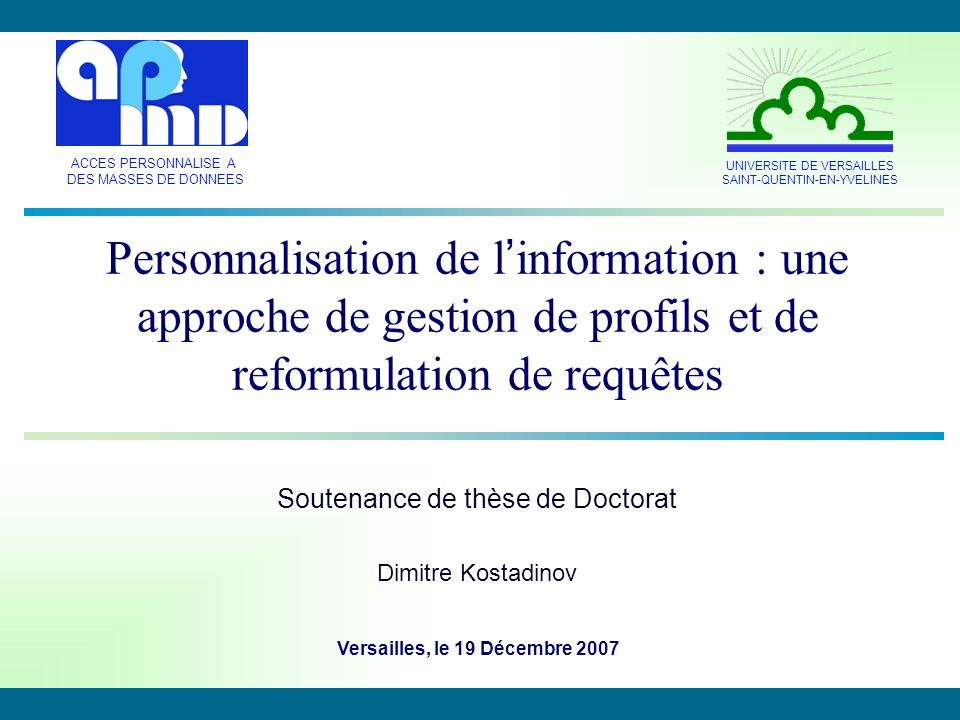 Soutenance de thèse de Doctorat Dimitre Kostadinov