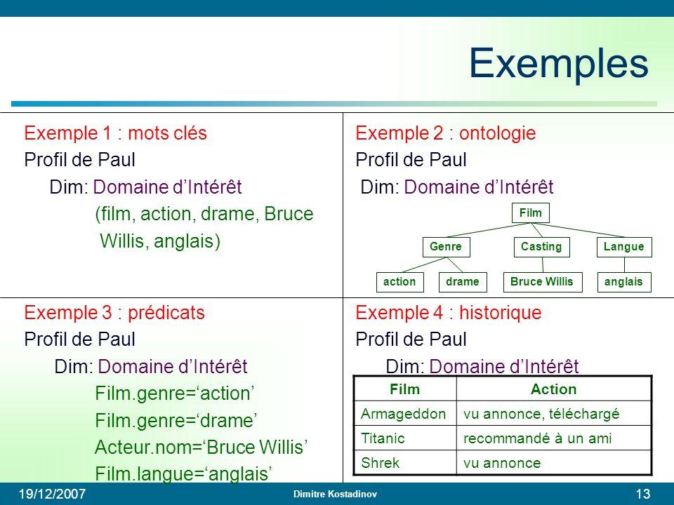 Exemples Exemple 1 : mots clés Profil de Paul Dim: Domaine d'Intérêt