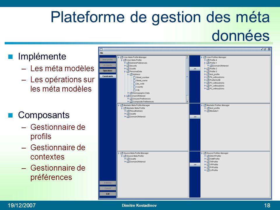 Plateforme de gestion des méta données