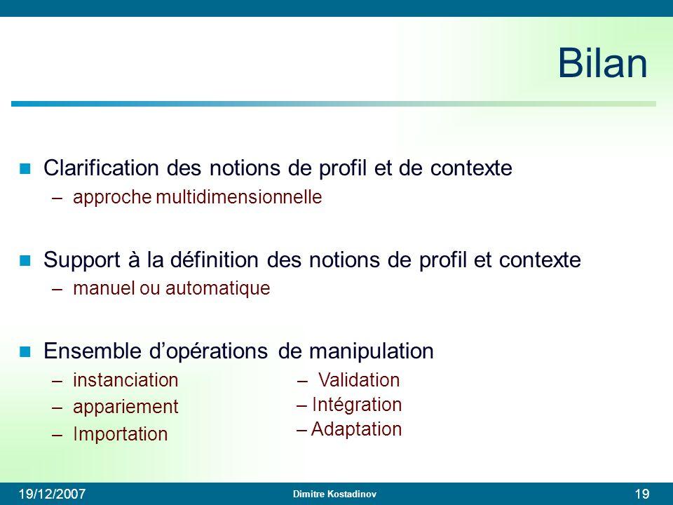 Bilan Clarification des notions de profil et de contexte