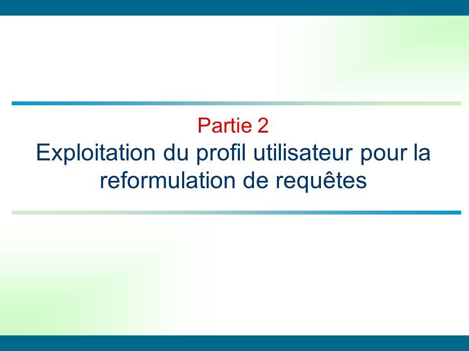 Partie 2 Exploitation du profil utilisateur pour la reformulation de requêtes