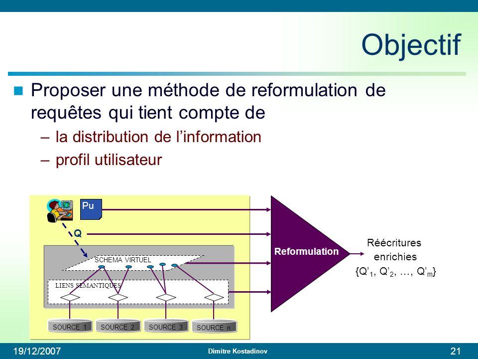 Objectif Proposer une méthode de reformulation de requêtes qui tient compte de. la distribution de l'information.