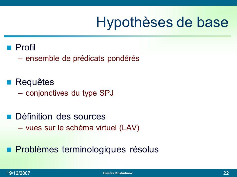 Hypothèses de base Profil Requêtes Définition des sources
