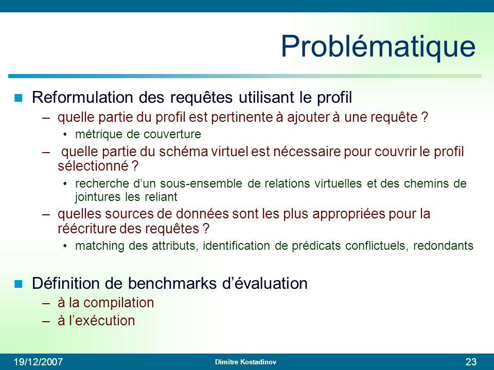 Problématique Reformulation des requêtes utilisant le profil