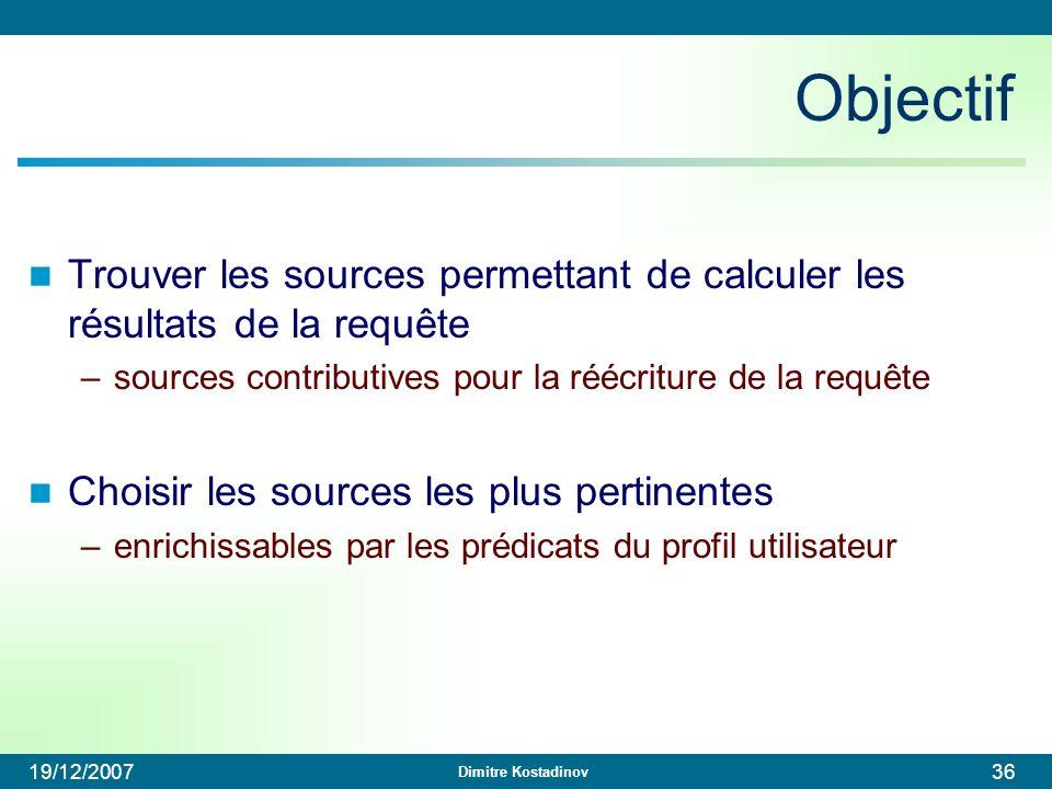 Objectif Trouver les sources permettant de calculer les résultats de la requête. sources contributives pour la réécriture de la requête.