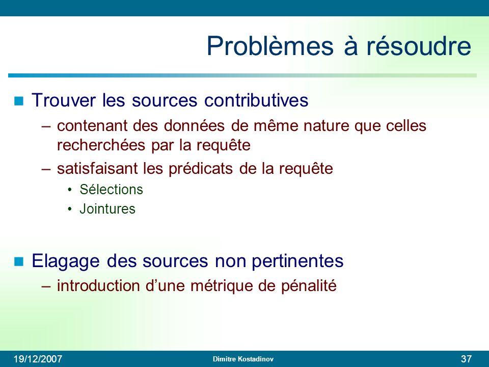 Problèmes à résoudre Trouver les sources contributives