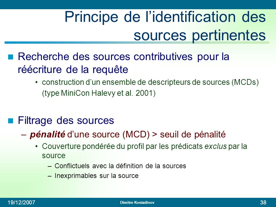 Principe de l'identification des sources pertinentes