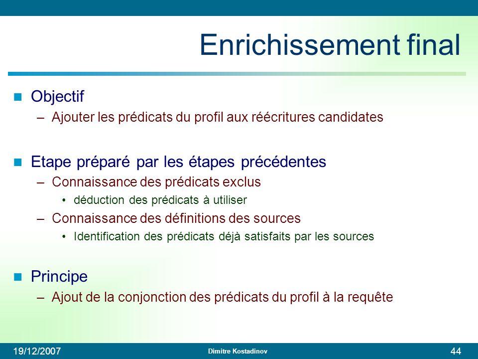 Enrichissement final Objectif Etape préparé par les étapes précédentes