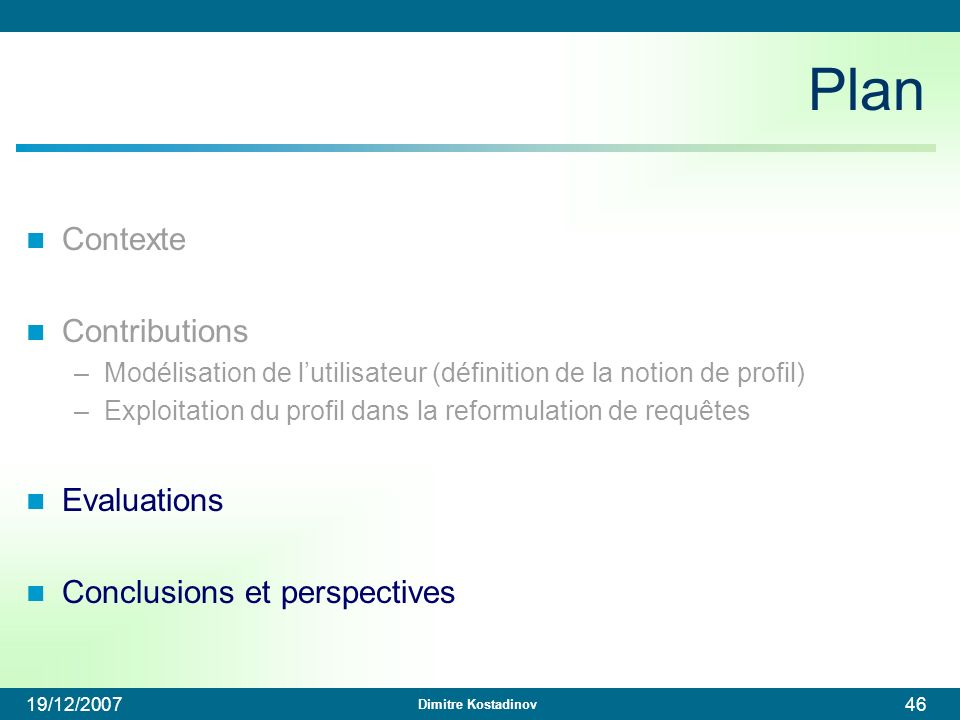 Plan Contexte Contributions Evaluations Conclusions et perspectives