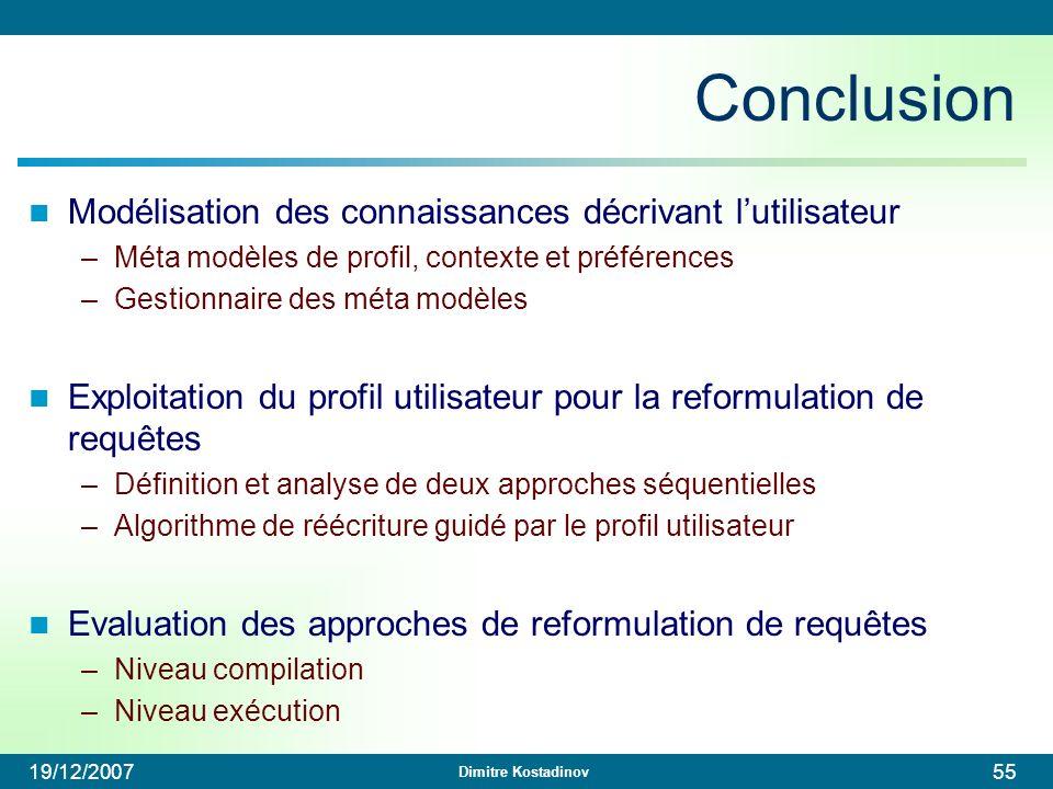 Conclusion Modélisation des connaissances décrivant l'utilisateur