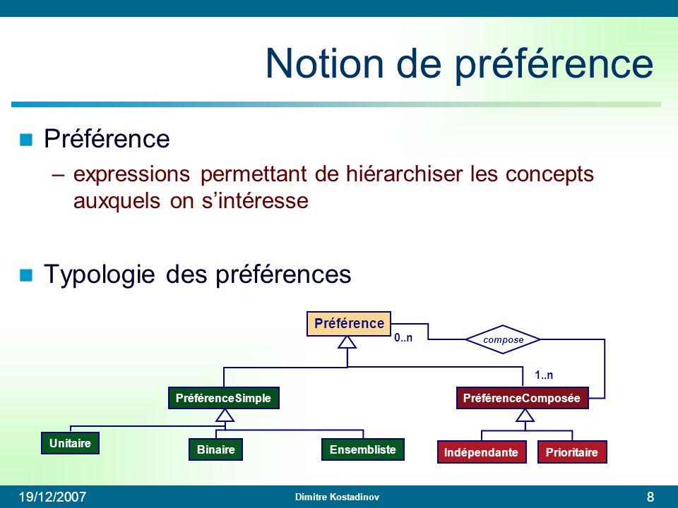 Notion de préférence Préférence Typologie des préférences