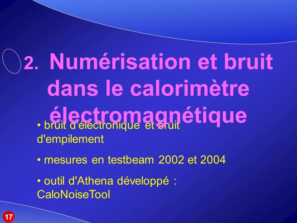 2. Numérisation et bruit dans le calorimètre électromagnétique