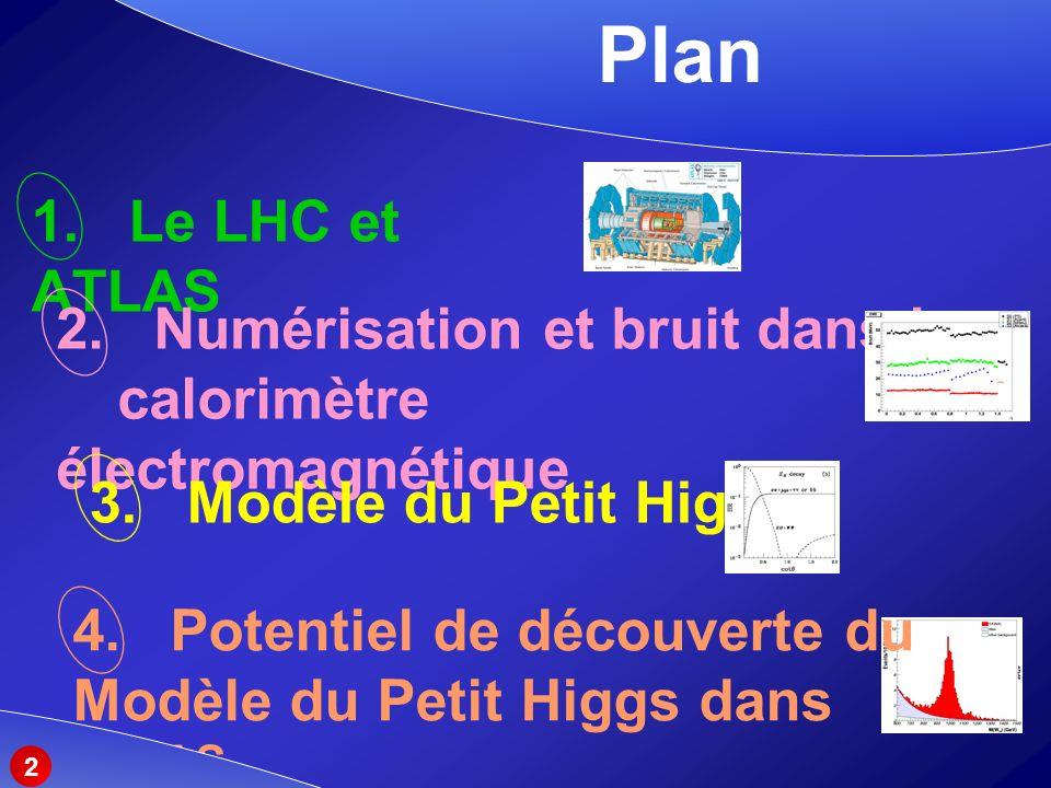 Plan 1. Le LHC et ATLAS. 2. Numérisation et bruit dans le calorimètre électromagnétique. 3. Modèle du Petit Higgs.