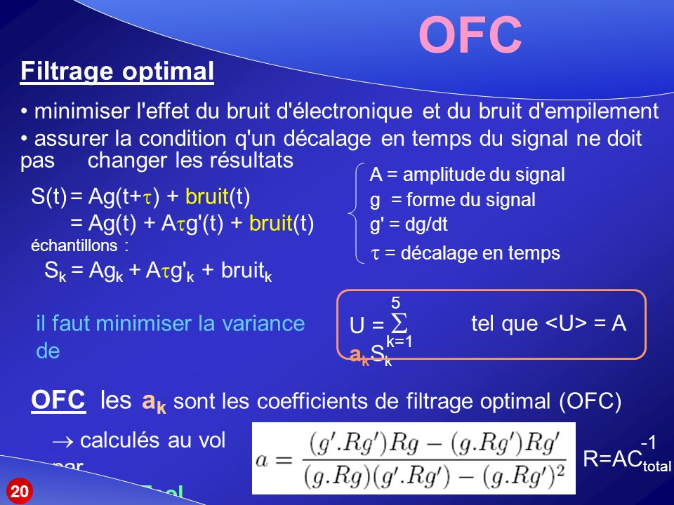 OFC Filtrage optimal. minimiser l effet du bruit d électronique et du bruit d empilement.
