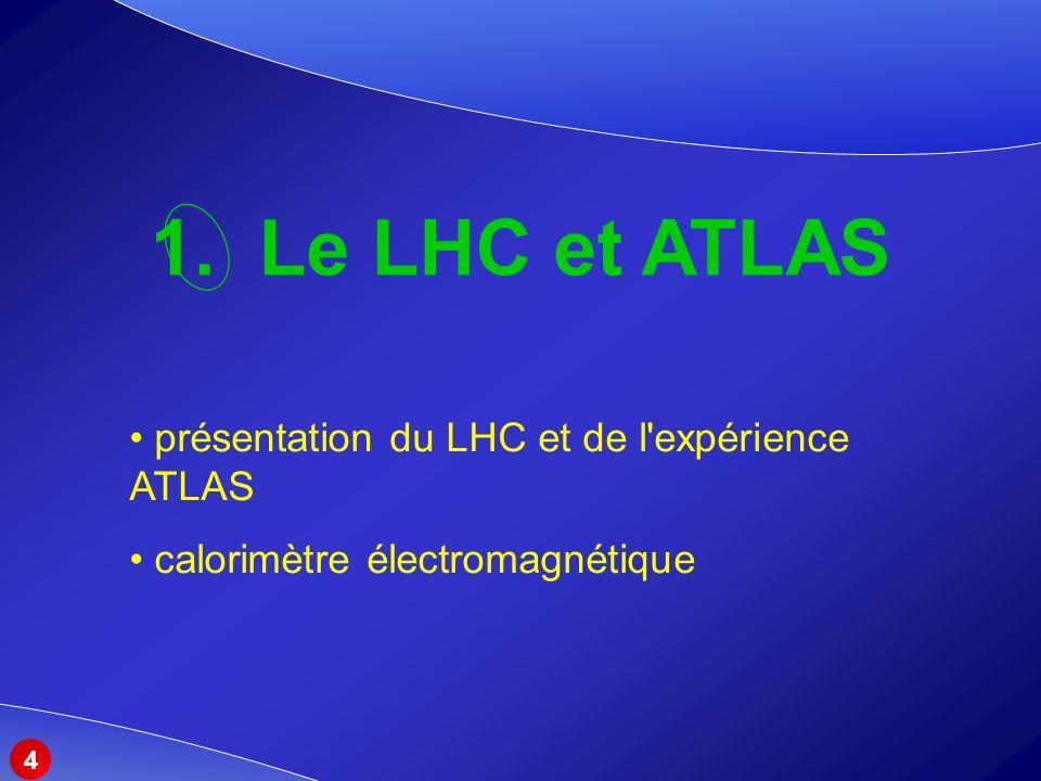 1. Le LHC et ATLAS présentation du LHC et de l expérience ATLAS