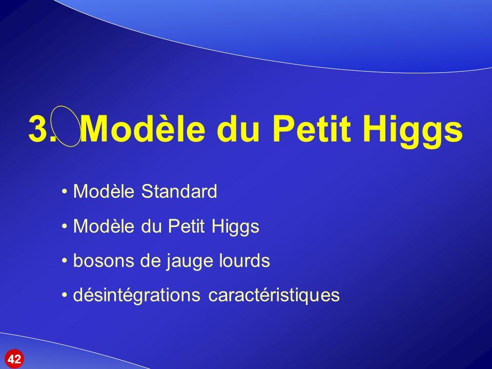 3. Modèle du Petit Higgs Modèle Standard Modèle du Petit Higgs