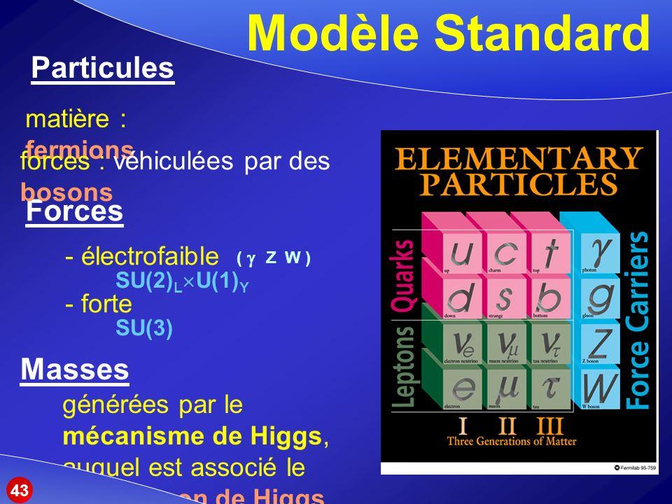 Modèle Standard Particules Forces Masses matière : fermions