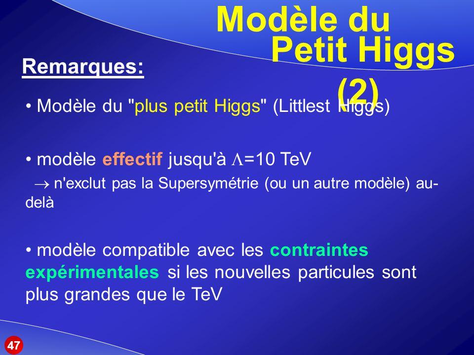 Modèle du Petit Higgs (2)
