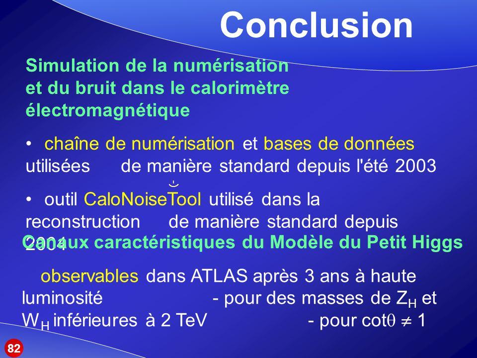 Conclusion Simulation de la numérisation et du bruit dans le calorimètre électromagnétique.