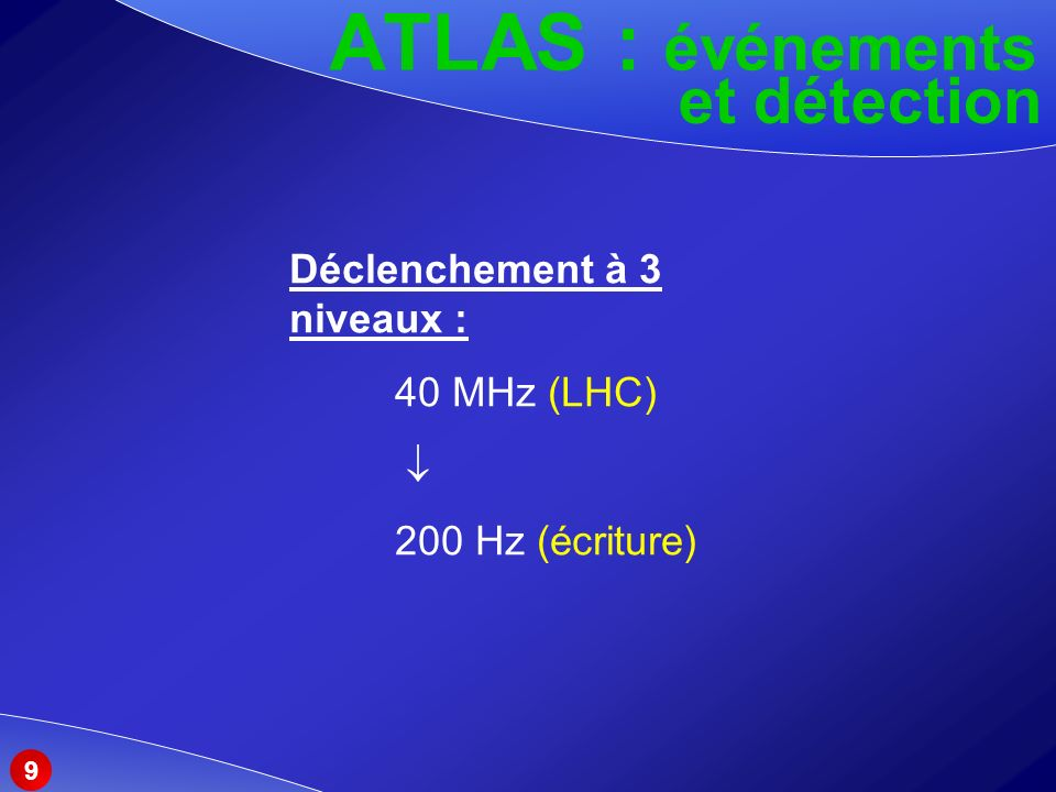 ATLAS : événements et détection Déclenchement à 3 niveaux :