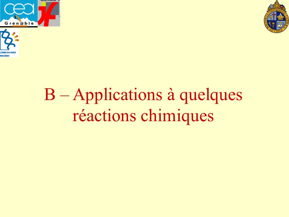 B – Applications à quelques réactions chimiques