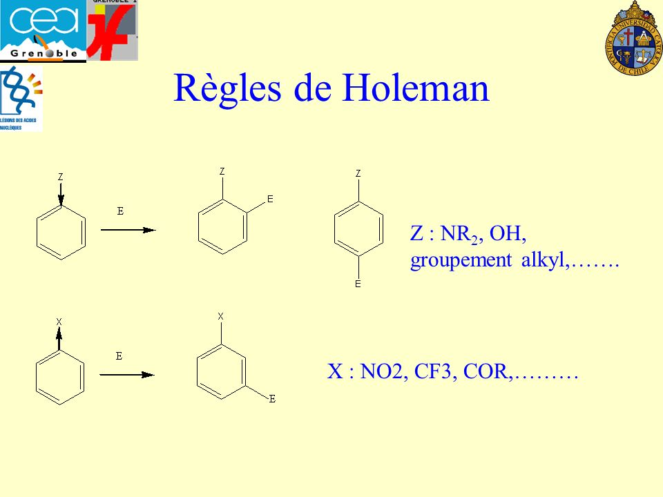 Règles de Holeman Z : NR2, OH, groupement alkyl,…….