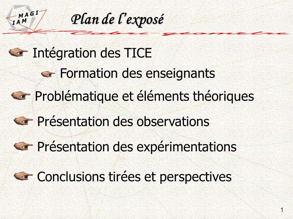 Plan de l'exposé Intégration des TICE Formation des enseignants