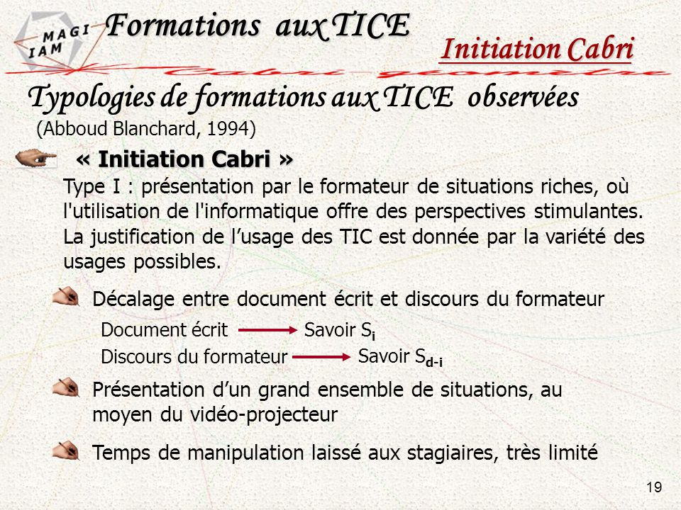 Formations aux TICE Initiation Cabri