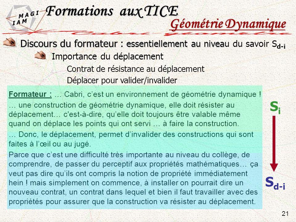 Formations aux TICE Géométrie Dynamique Si Sd-i