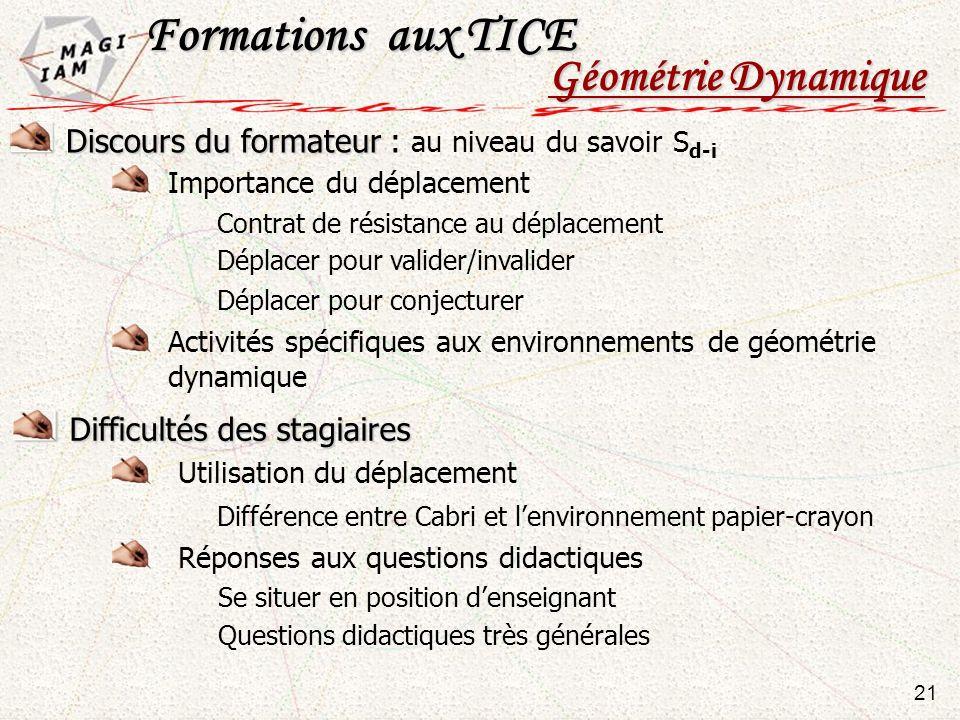 Formations aux TICE Géométrie Dynamique