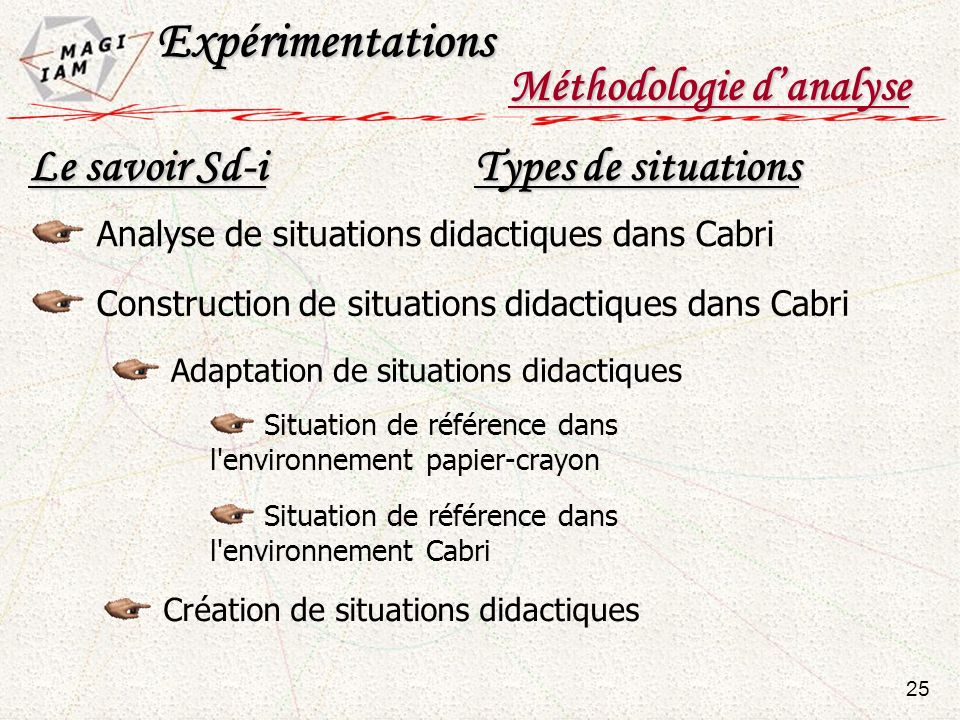 Expérimentations Méthodologie d'analyse Le savoir Sd-i