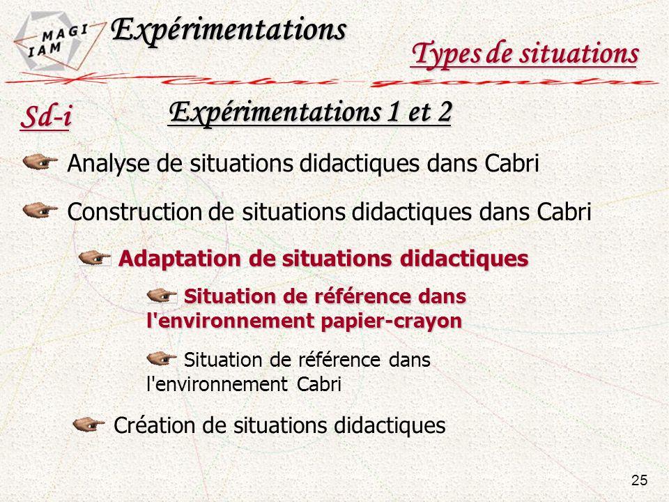 Expérimentations Types de situations Expérimentations 1 et 2 Sd-i