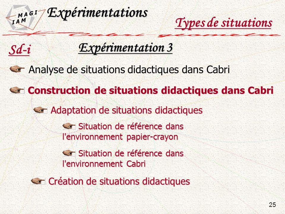Expérimentations Types de situations Expérimentation 3 Sd-i