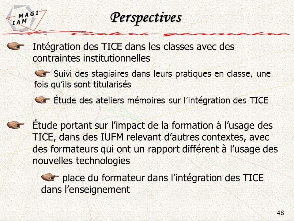 Perspectives Intégration des TICE dans les classes avec des contraintes institutionnelles.