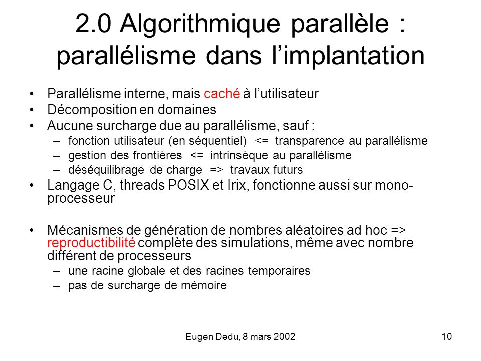 2.0 Algorithmique parallèle : parallélisme dans l'implantation