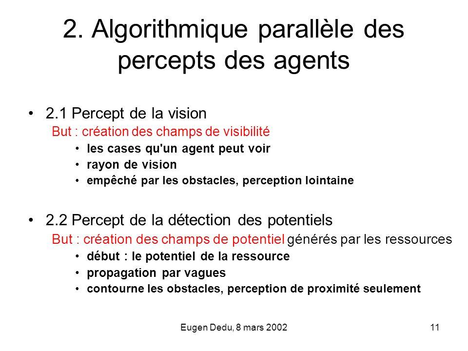 2. Algorithmique parallèle des percepts des agents