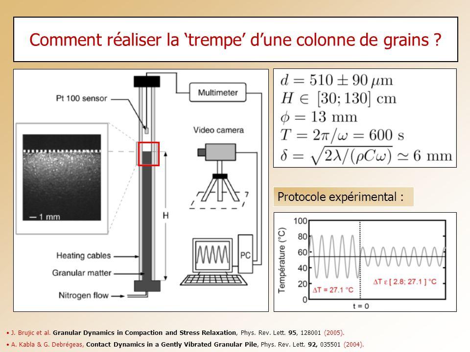 Comment réaliser la 'trempe' d'une colonne de grains