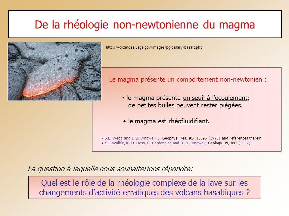 De la rhéologie non-newtonienne du magma