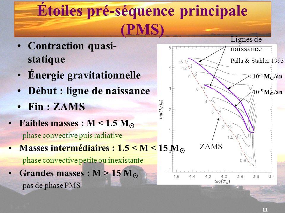 Étoiles pré-séquence principale (PMS)