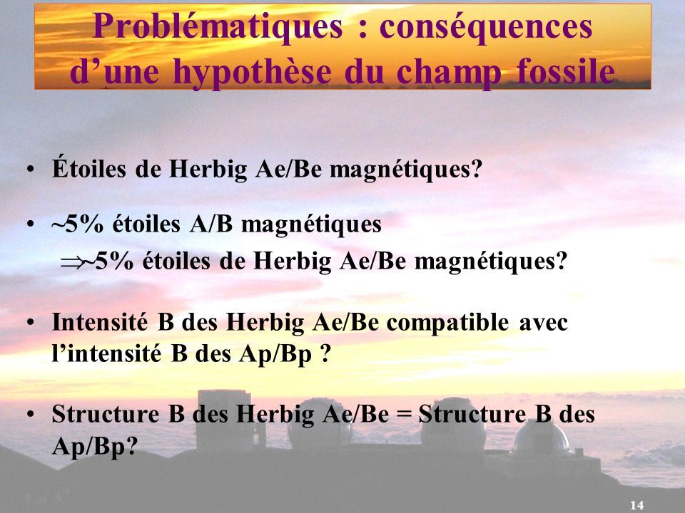 Problématiques : conséquences d'une hypothèse du champ fossile