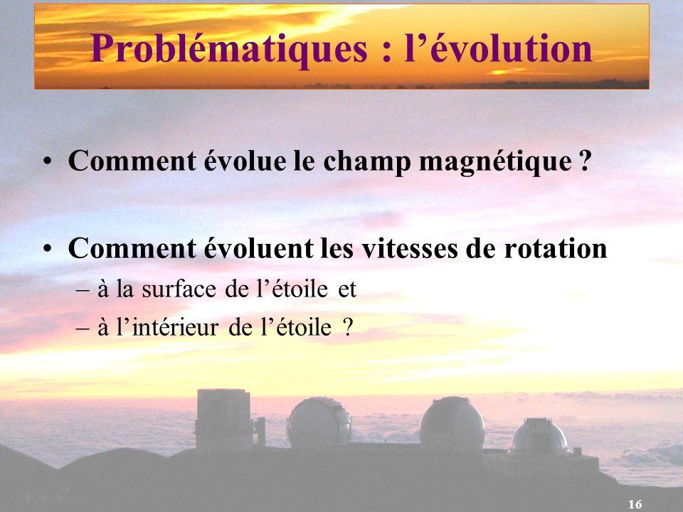 Problématiques : l'évolution