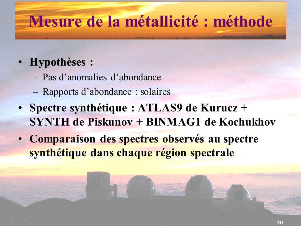 Mesure de la métallicité : méthode