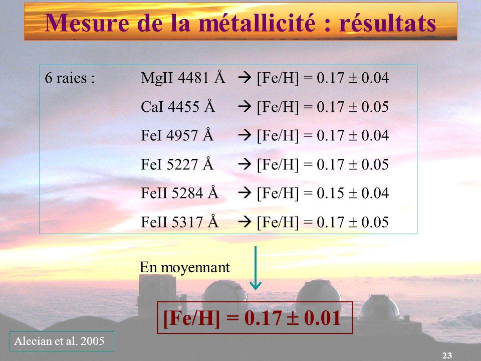 Mesure de la métallicité : résultats